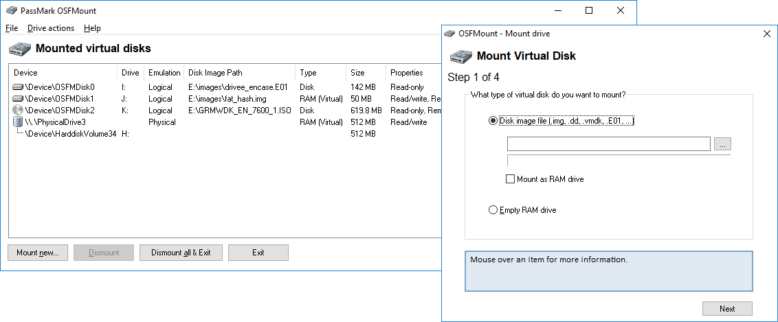 Screenshot of OSFMount